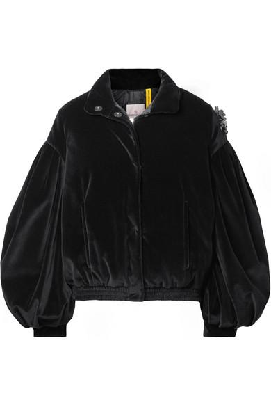 + 4 Simone Rocha Appliquéd Quilted Cotton-Velvet Down Jacket, Black