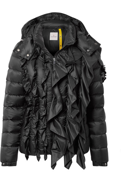 4 Simone Rocha Bady Embellished Ruffled Quilted Shell Down Jacket in Black