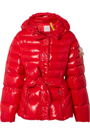 Moncler Genius + 4 Simone Rocha embellished belted glossed-shell down jacket