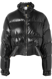 Moncler Genius + 6 Noir Kei Ninomiya cropped appliquéd quilted shell down jacket