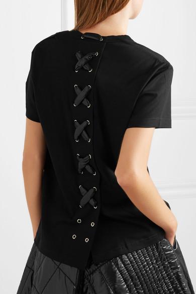fcea6221e Moncler Genius | + 6 Noir Kei Ninomiya lace-up cotton-jersey T-shirt ...