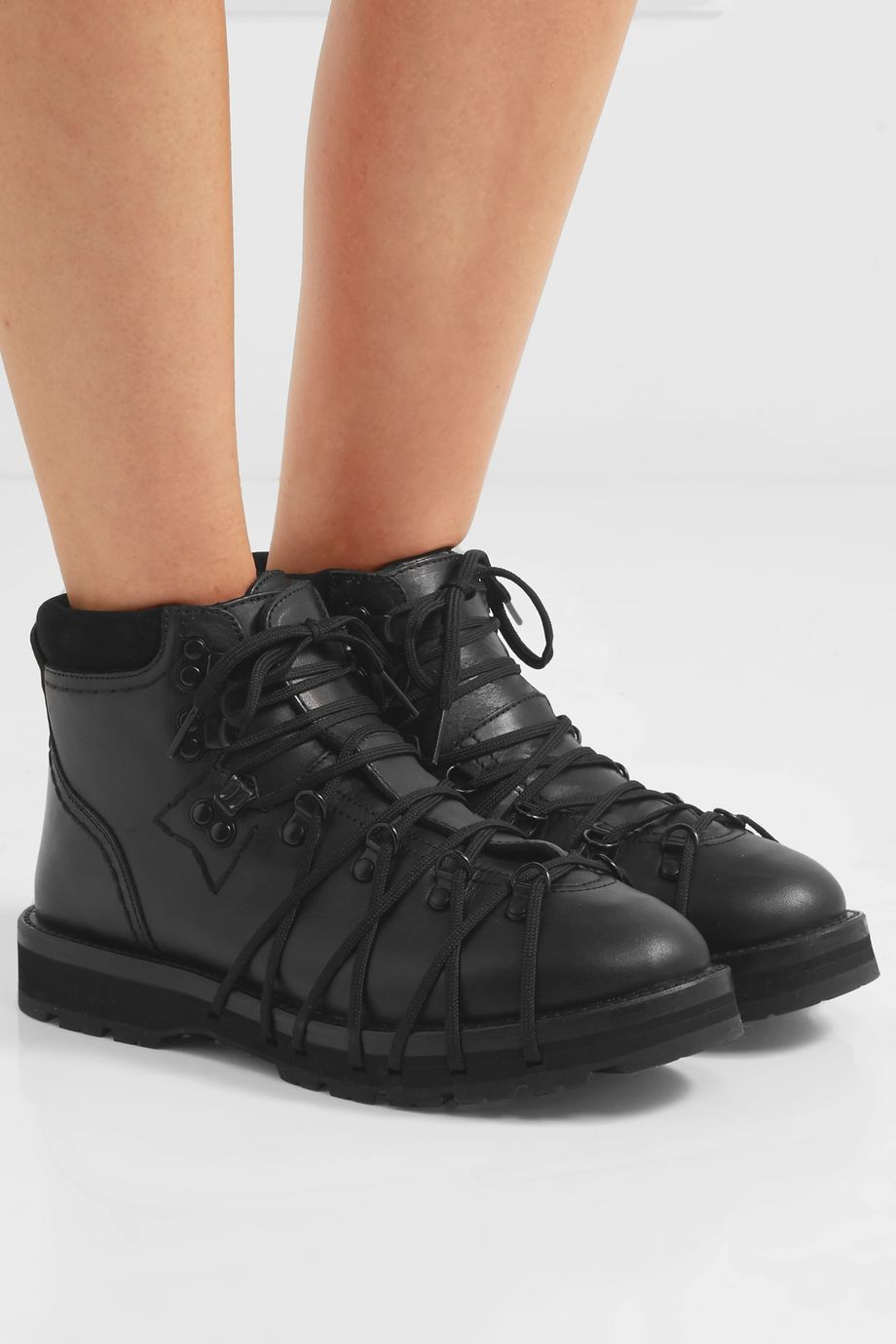 Moncler Genius + 6 Noir Kei Ninomiya suede-trimmed leather ankle boots