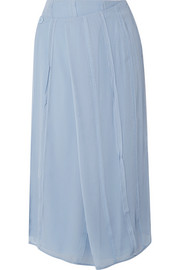 Carven Pleated silk-chiffon wrap midi skirt