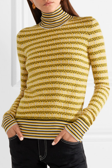 Discount Cheapest Wool-blend Jacquard Turtleneck Sweater - Yellow Carven Clearance Wholesale Price Hot Sale Reliable Cheap Price I3hwF