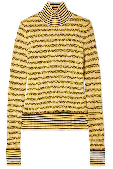 Wool-Blend Jacquard Turtleneck Sweater in Yellow
