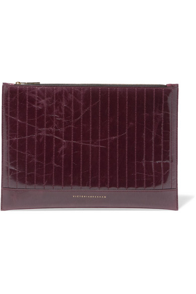 Victoria Beckham - Quilted Glossed Textured-leather Pouch - Burgundy