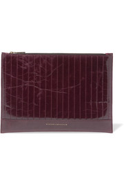Victoria Beckham Quilted glossed textured-leather pouch