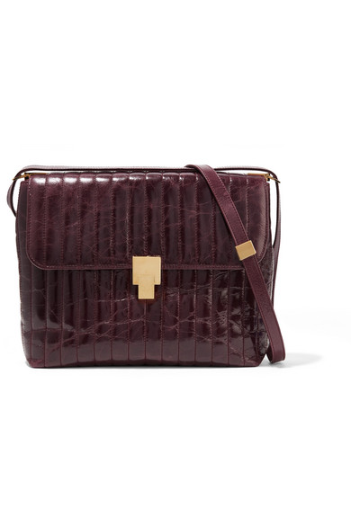 VICTORIA BECKHAM QUINTON QUILTED GLOSSED CREASED-LEATHER SHOULDER BAG