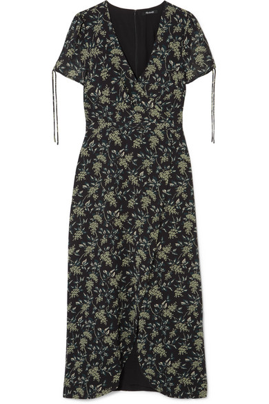 MADEWELL Wrap-Effect Floral-Print Georgette Maxi Dress in Black