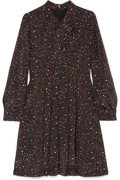 MADEWELL Printed Silk Crepe De Chine Mini Dress in Black