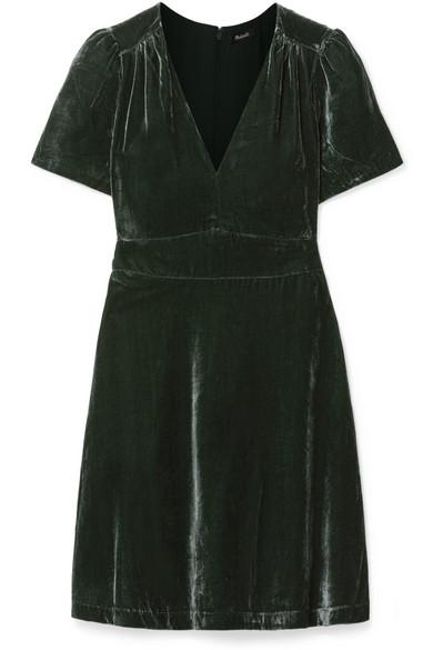 MADEWELL Crushed-Velvet Mini Dress in Gray