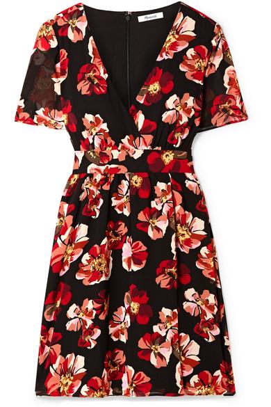 MADEWELL Floral-Print Chiffon Mini Dress in Black