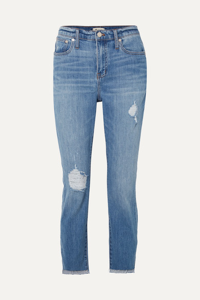 MADEWELL The High-Rise Slim Boyjean Distressed Jeans in Mid Denim