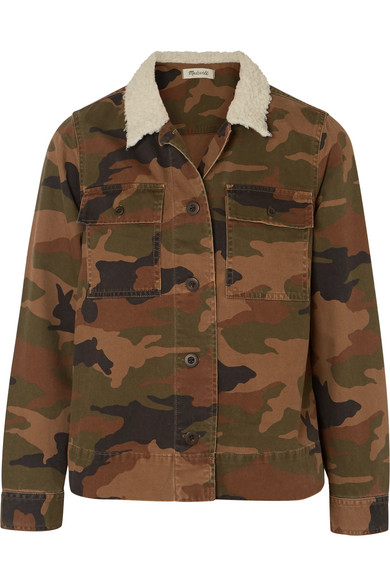 Northward Faux Shearling-Trimmed Camouflage-Print Cotton-Twill Jacket in Green