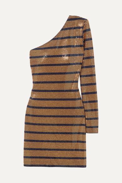 142bef53d6ac Balmain | One-shoulder crystal-embellished georgette mini dress ...