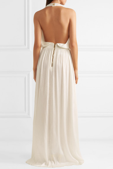 6217476a Balmain | Button-detailed plissé silk-crepe gown | NET-A-PORTER.COM