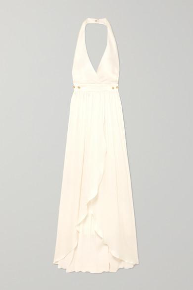 9a0e3174 Shoptagr | Button Detailed Plissé Silk Crepe Gown by Balmain
