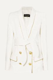 Balmain Belted double-breasted woven blazer