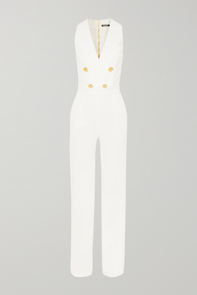 Button Embellished Crepe Jumpsuit by Balmain