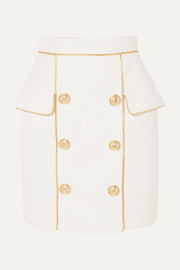 Balmain Button-embellished woven mini skirt