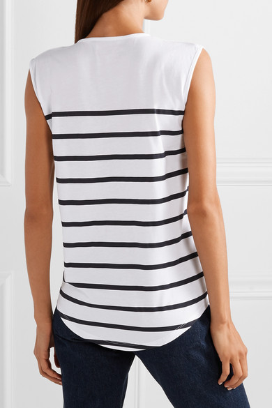 Balmain Tops Button-embellished striped cotton-jersey top
