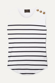 EXCLUSIVE Button-embellished striped cotton-jersey top