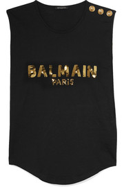 Balmain Button-embellished sequined cotton-jersey top