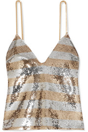 EXCLUSIVE Chain-embellished striped sequined crepe camisole