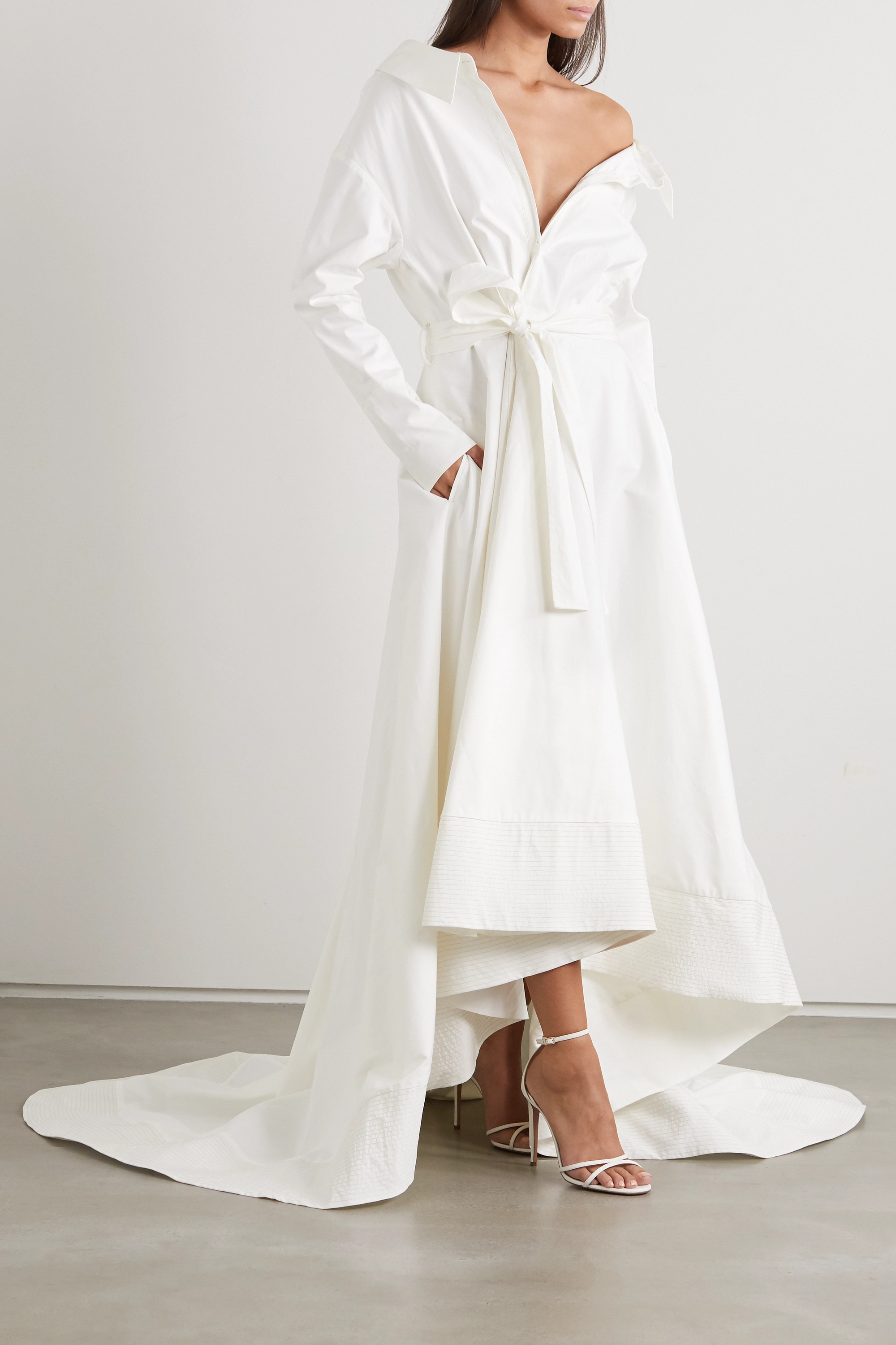 Danielle Frankel Lou off-the-shoulder cotton-blend poplin gown