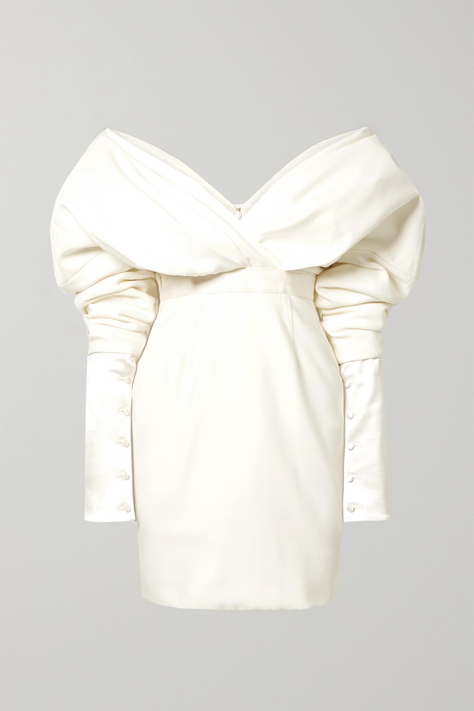 Danielle Frankel Off-the-shoulder silk and wool-blend mini dress
