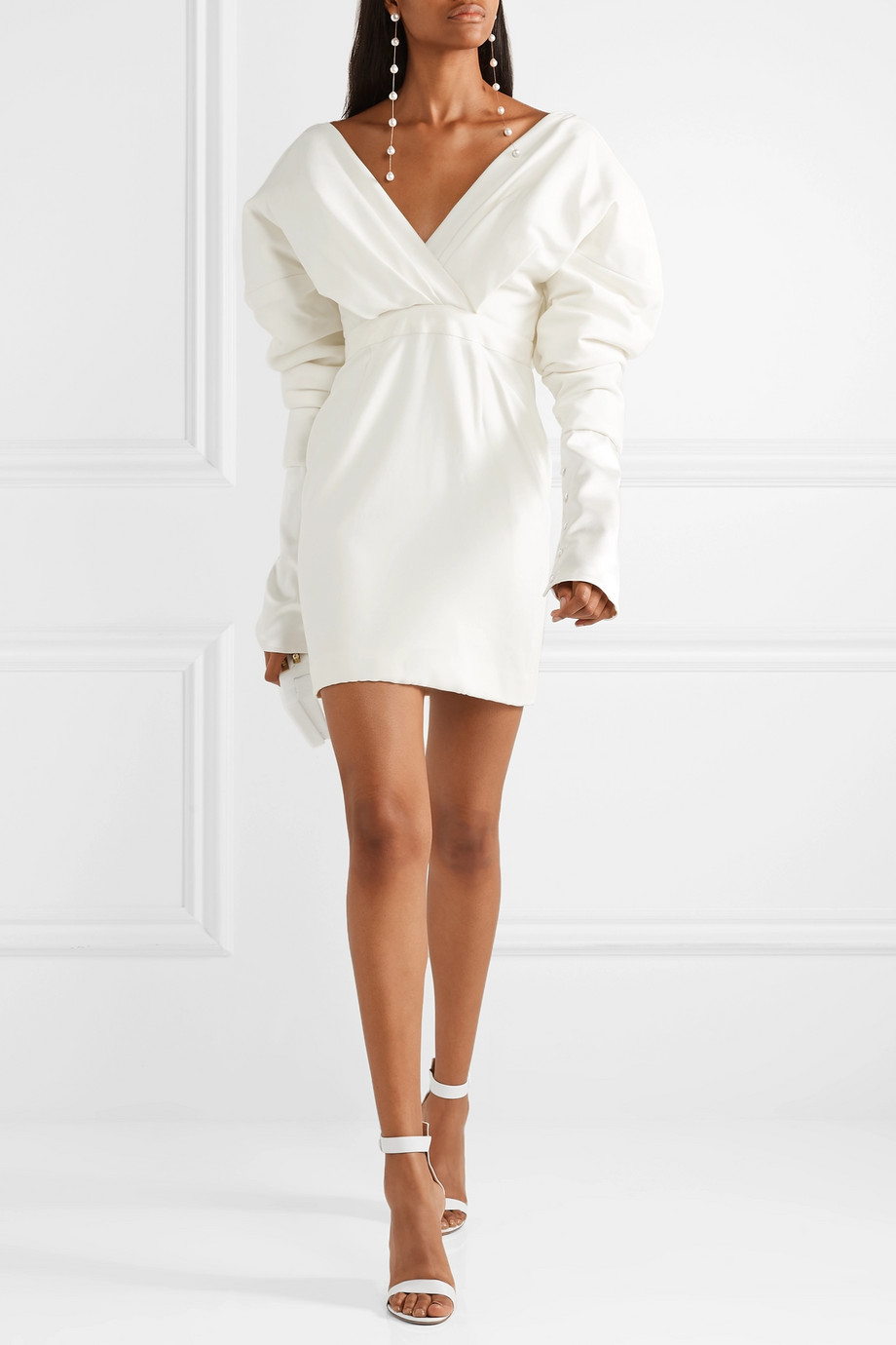 Danielle Frankel Off-the-shoulder silk and wool-blend mini dress
