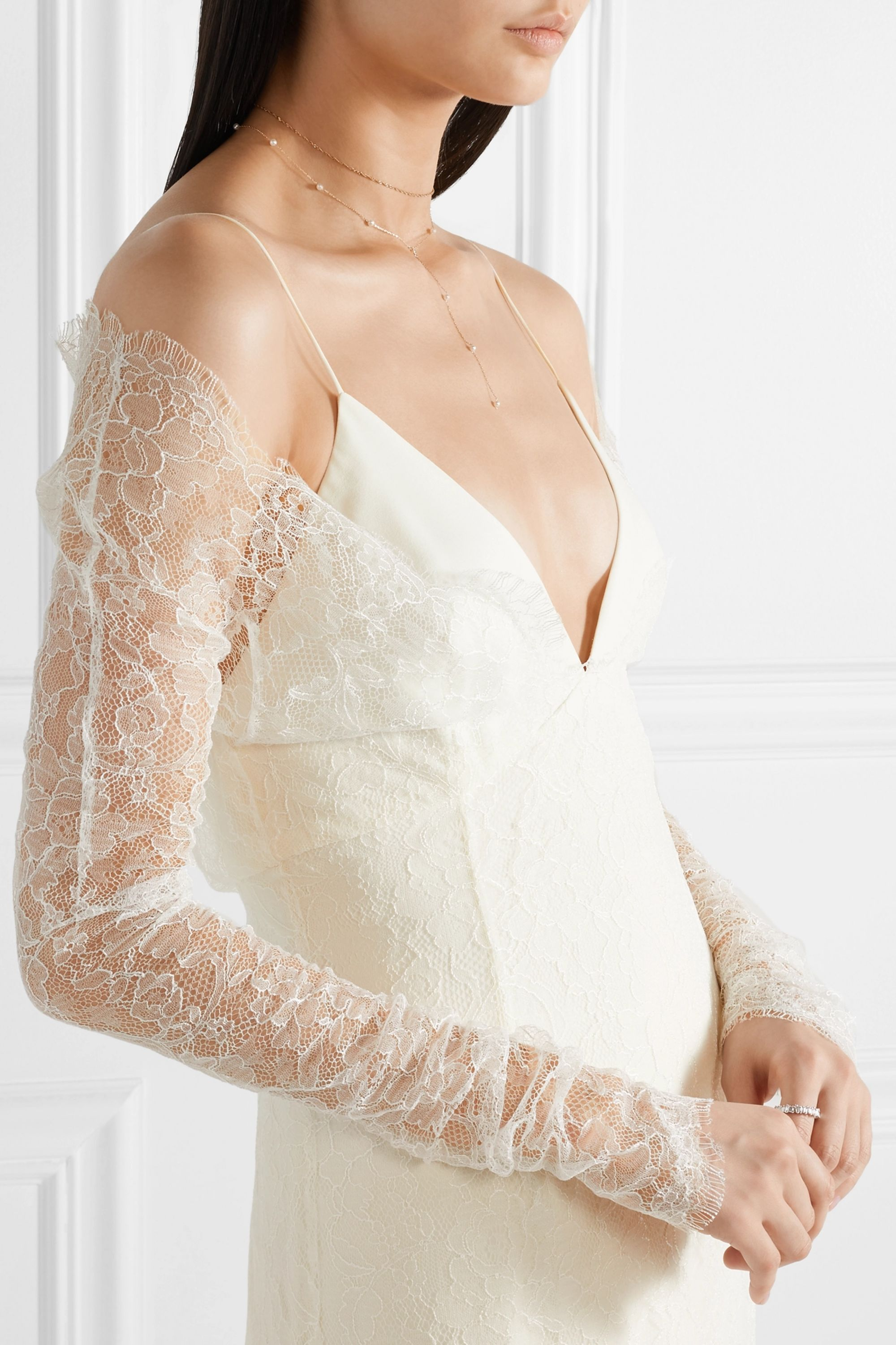 Danielle Frankel Cold-shoulder Chantilly lace and chiffon gown