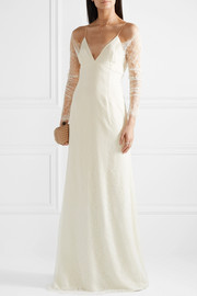 Cold-shoulder Chantilly lace and chiffon gown