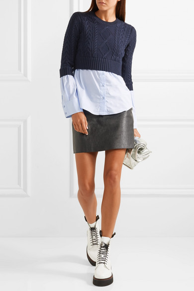 Kenzo Knits Layered cable-knit wool and cotton-poplin sweater
