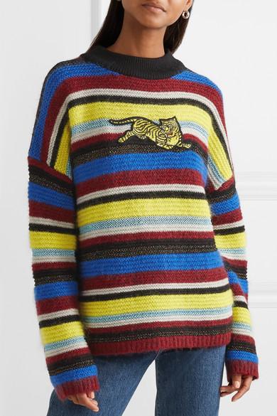 Kenzo Knits Jumping Tiger appliquéd striped wool-blend sweater