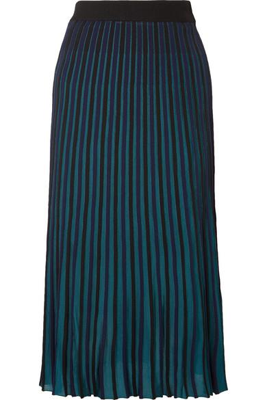 KENZO - Pleated Stretch-knit Midi Skirt - Black