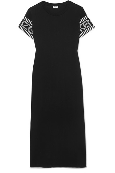 Printed Cotton-Jersey Midi Dress, Black