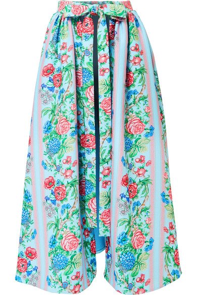 Emilia Wickstead - Evelyn Floral-print Cloqué Wrap Skirt - Blue
