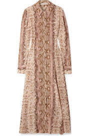 Lucinda snake-print silk crepe de chine maxi dress