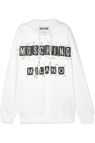 Embellished Cotton Jersey Hoodie by Moschino
