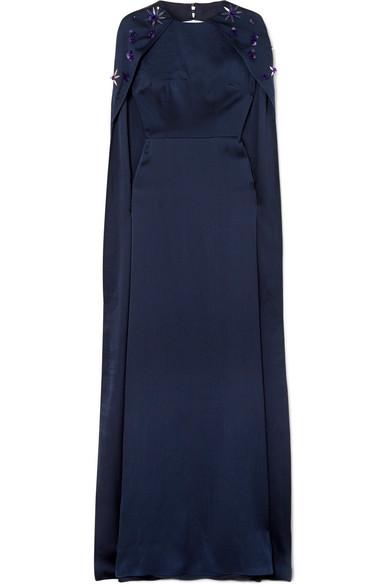 SAFIYAA Celine Embellished Hammered Silk-Satin Gown in Midnight Blue