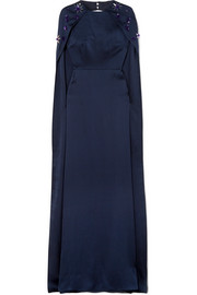 Celine embellished hammered silk-satin gown
