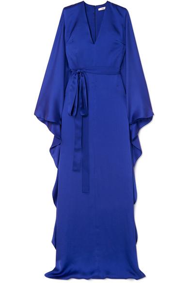 SAFIYAA Aurora Hammered Silk-Satin Gown in Blue