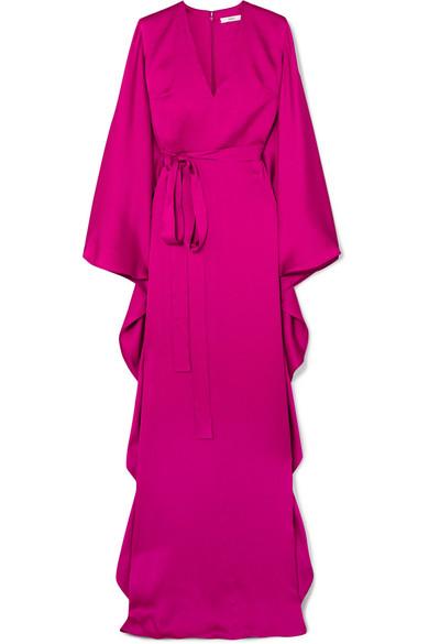 SAFIYAA Aurora Hammered Silk-Satin Gown in Magenta