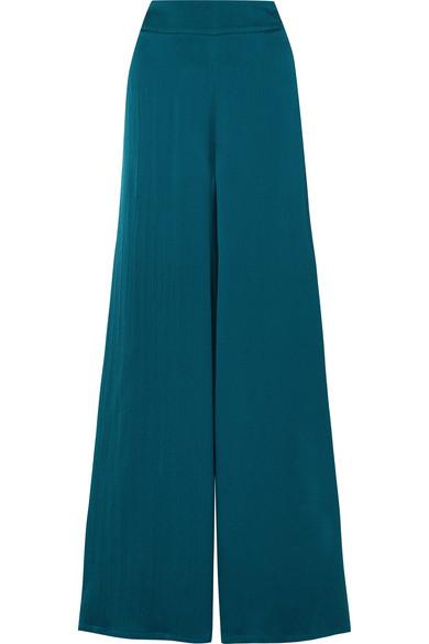 SAFIYAA Nara Hammered Silk-Satin Wide-Leg Pants in Emerald