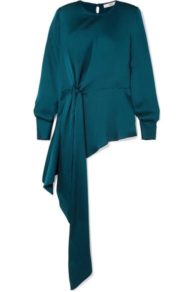 SAFIYAA Kianna Tie-Detailed Hammered-Silk Top in Emerald