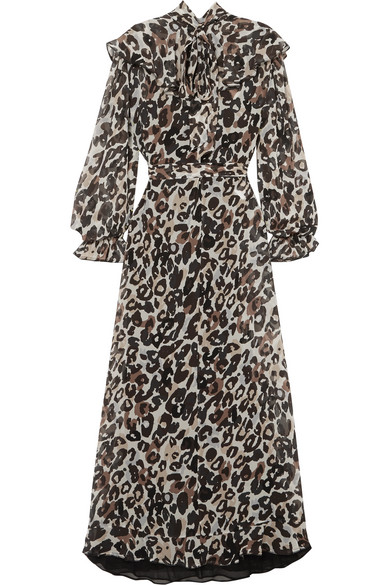 8c0e6e363a Sonia Rykiel. Leopard-print silk-chiffon midi dress