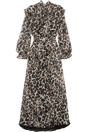 Leopard-print silk-chiffon midi dress