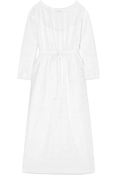 SONIA RYKIEL Broderie Anglaise Cotton Maxi Dress in White
