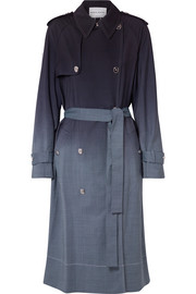 Checked ombré wool trench coat